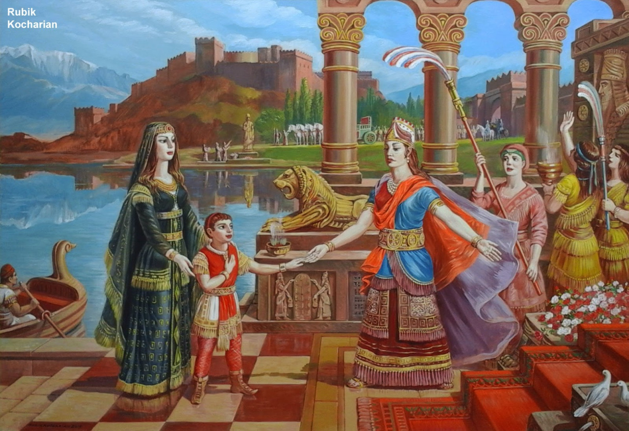 Armenian Queen Nvard with Her Son Cardos at Semiramis 58x40 oil on linen 2015